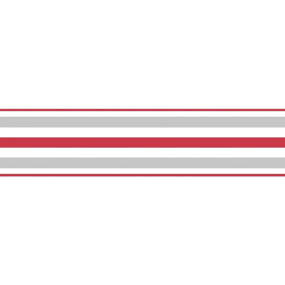 Fine Decor Ceramica Stripe Self Adhesive Border Red