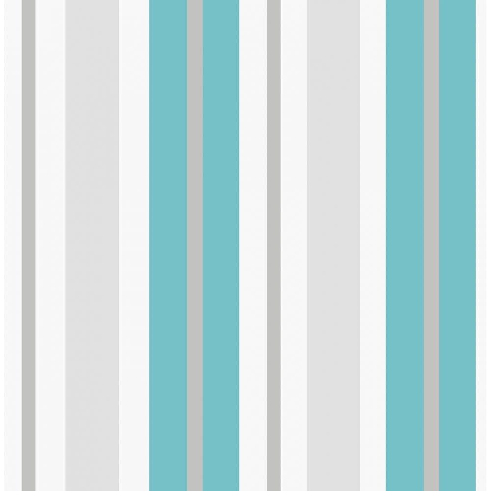 Fine Decor Ceramica Stripe Wallpaper Teal White Silver