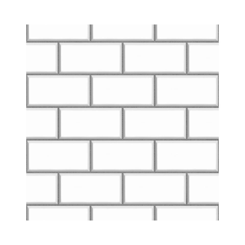 Fine Decor Ceramica Subway Tile Effect Wallpaper White Silver