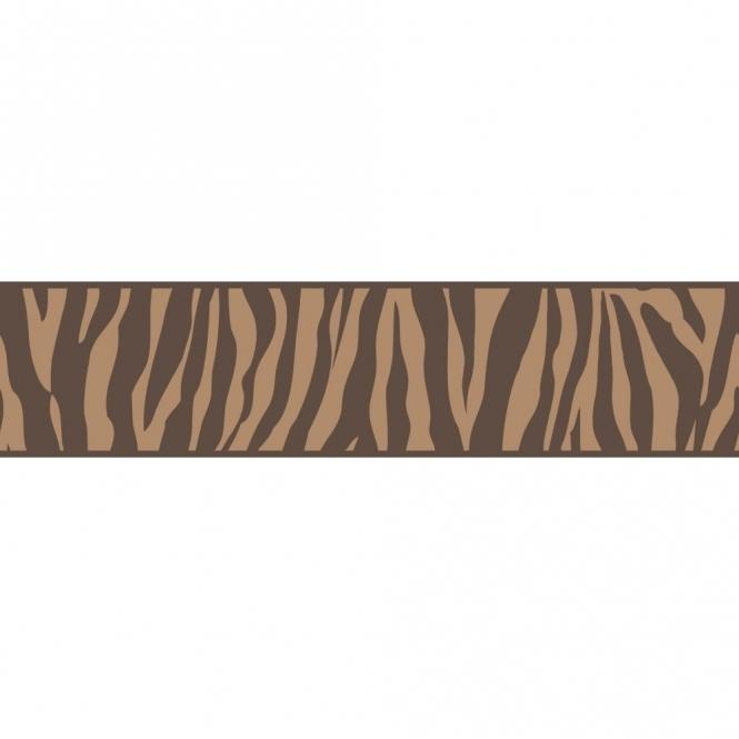 Ceramica Zebra Animal Print Self Adhesive Border Chocolate