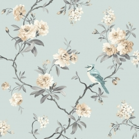 Chinoiserie Floral Wallpaper Teal (FD40765)
