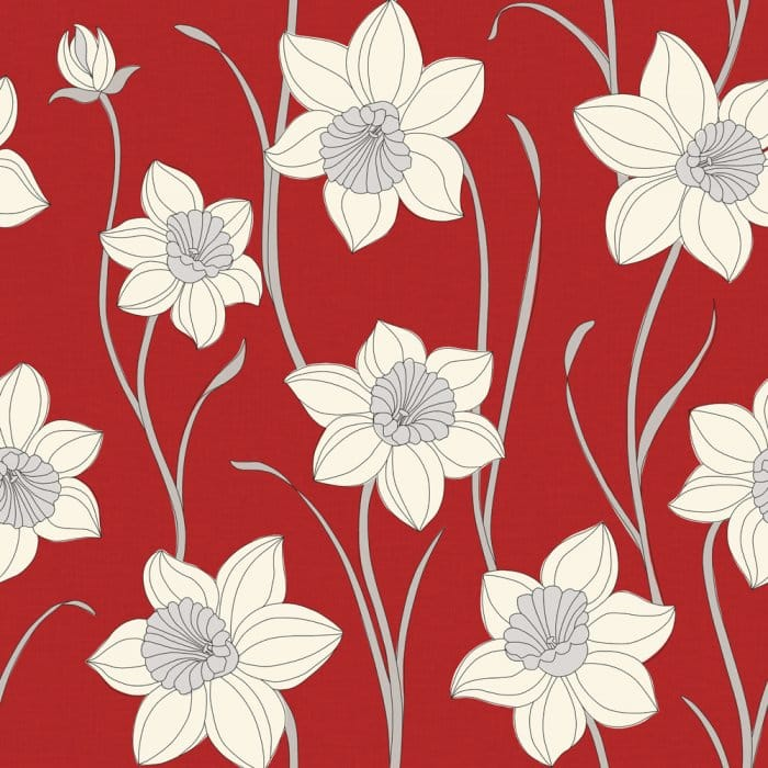 Fine Decor Daffodil Wallpaper Red Cream Wallpaper From