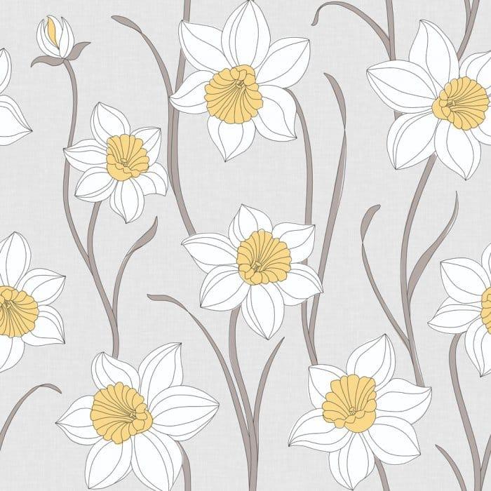 Fine Decor Daffodil Wallpaper Stone White Yellow