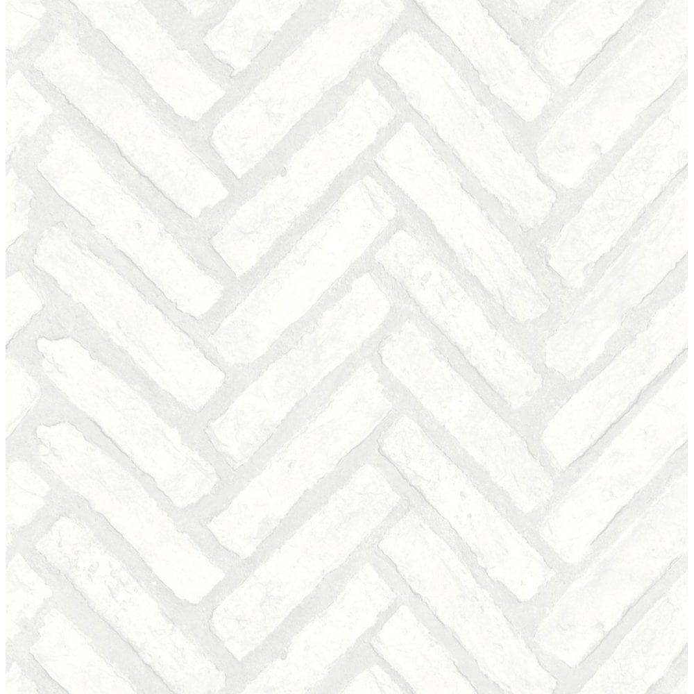 Fine Decor Distinctive Herringbone Brick Wallpaper White