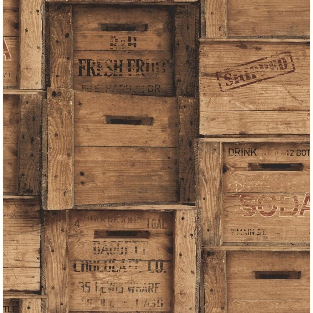 Distinctive Wood Crates Wallpaper Brown FD40943
