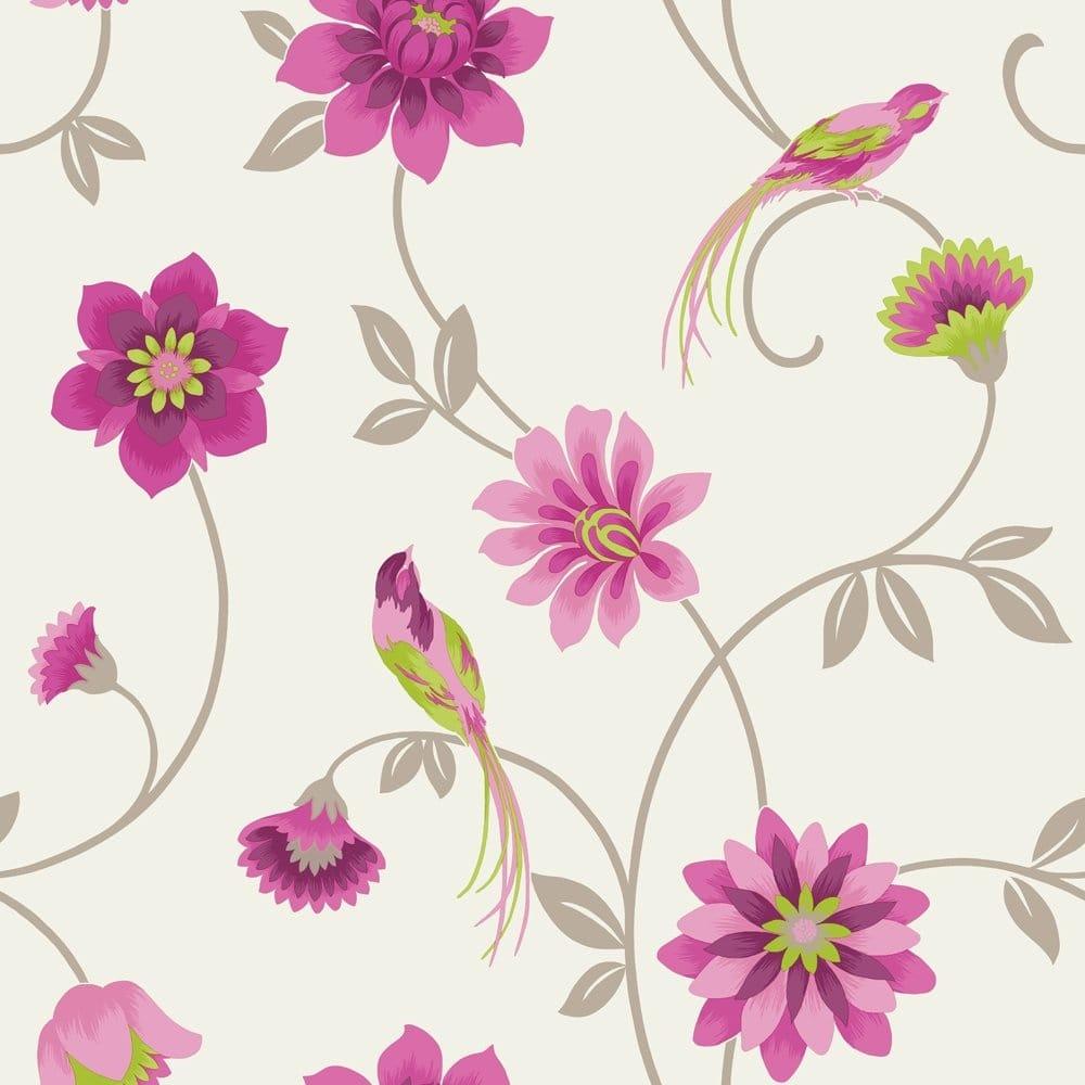 Buy fine decor eden bird wallpaper cream green pink for Bird wallpaper home decor