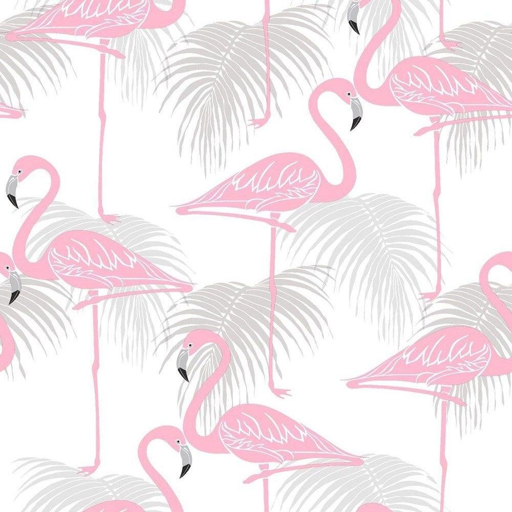 Flamingo Kids Wallpaper Pink Grey FD42215