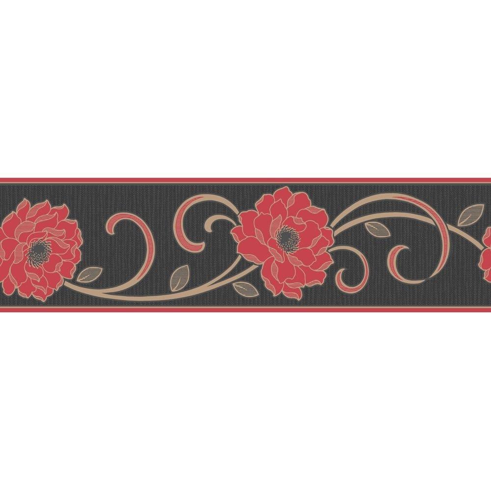 Buy Fine Decor Florentina Wallpaper Border Red Black Gold