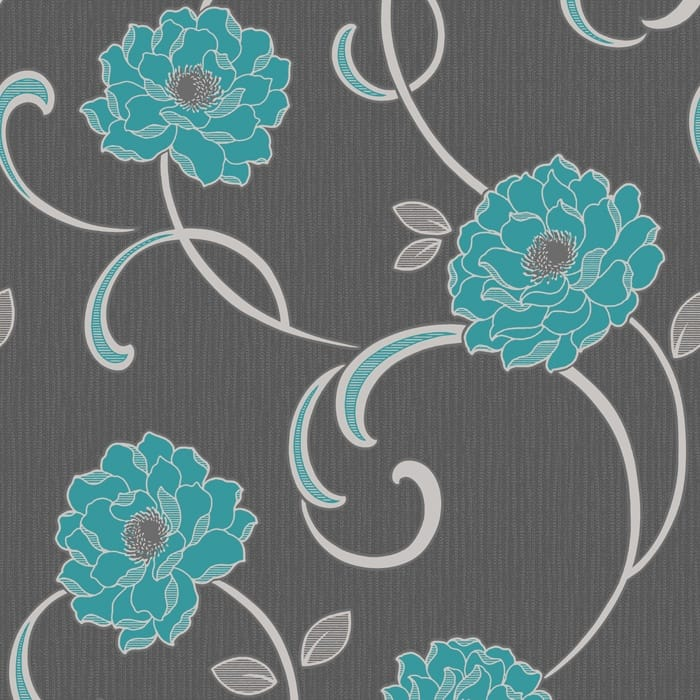 Buy Fine Decor Florentina Wallpaper Charcoal / Teal / Silver