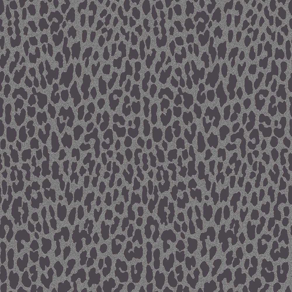 Geo Animal Print Glitter Wallpaper Black Silver FD40937