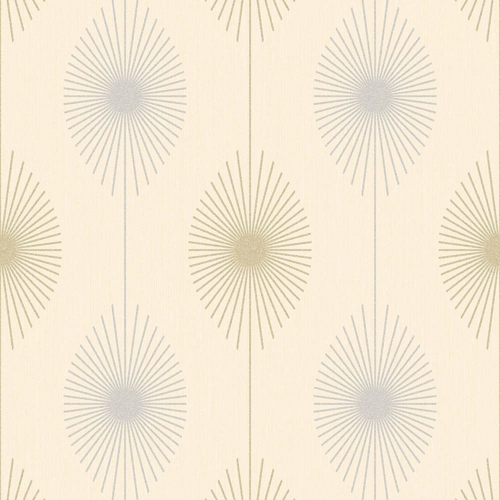 Fine Decor Geo Starburst Glitter Wallpaper Cream Silver Gold