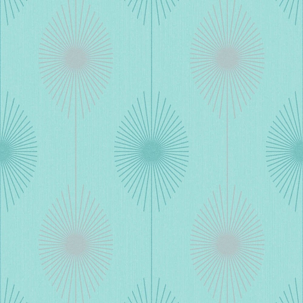 Fine Decor Geo Starburst Glitter Wallpaper Teal Silver