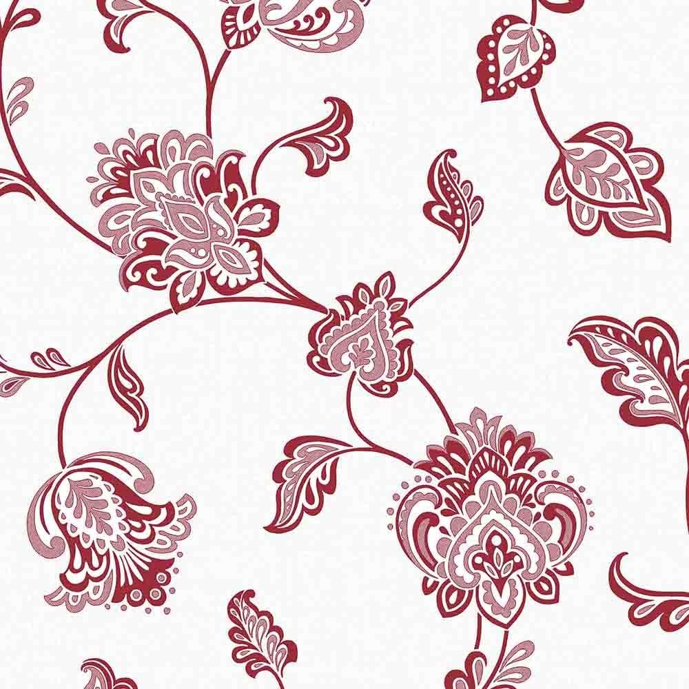 Glamour Glitter Floral Wallpaper Red / White (FD40615) - Fine Decor Glamour Glitter Floral Wallpaper Red / White (FD40615