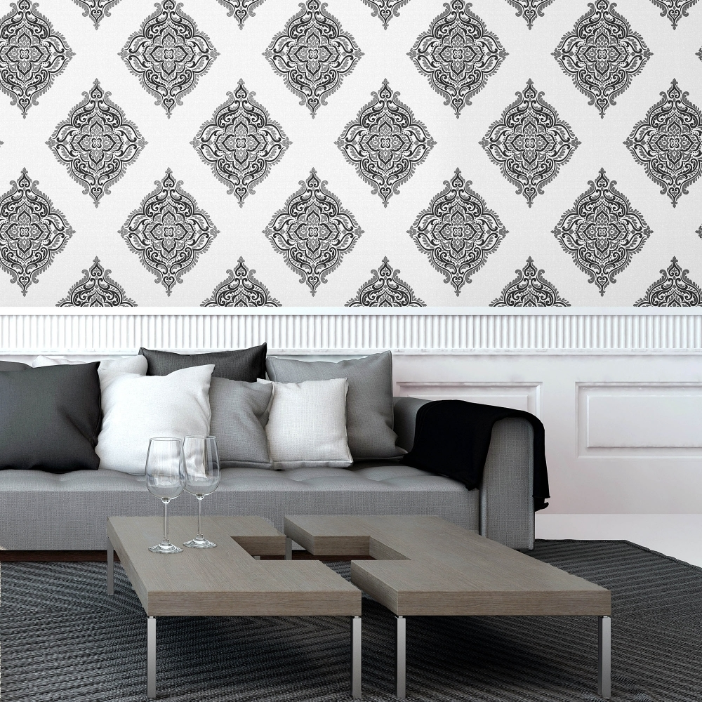 Black and silver living room wallpaper living room for Silver living room wallpaper