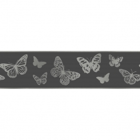 Glitz Butterfly Glitter Wallpaper Border Black / Silver (DLB50139)