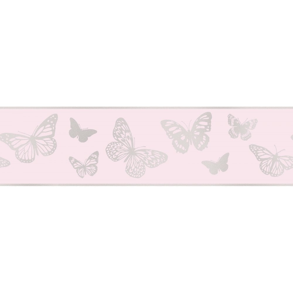 Fine decor glitz butterfly glitter wallpaper border pink