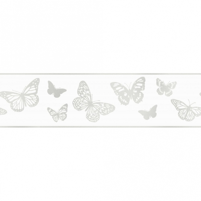 Fine Decor Glitz Butterfly Glitter Wallpaper Border White