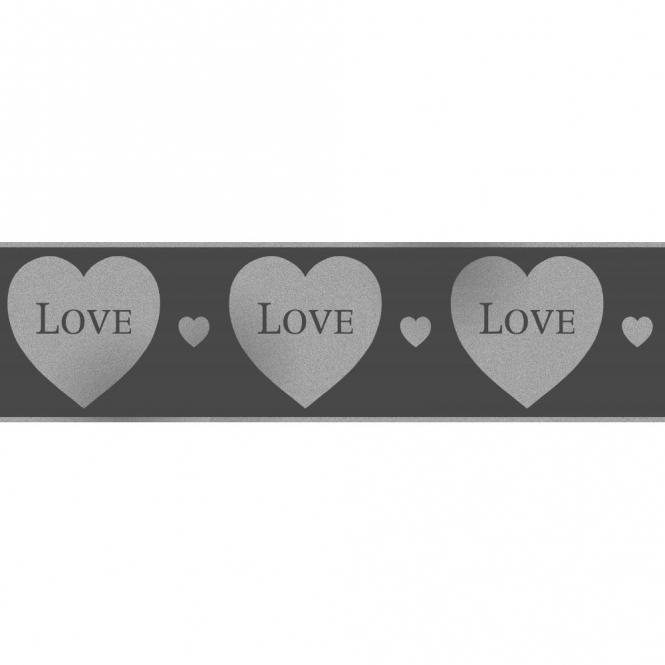 Fine Decor Glitz Hearts Glitter Wallpaper Border Black