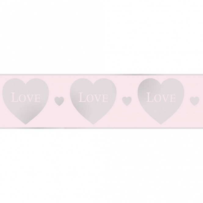 Fine Decor Glitz Hearts Glitter Wallpaper Border Pink / Silver (DLB50153)