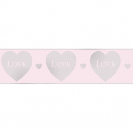 Glitz Hearts Glitter Wallpaper Border Pink / Silver (DLB50153)