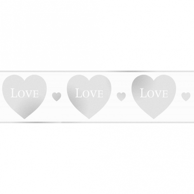 Fine Decor Glitz Hearts Glitter Wallpaper Border White / Silver (DLB50138)