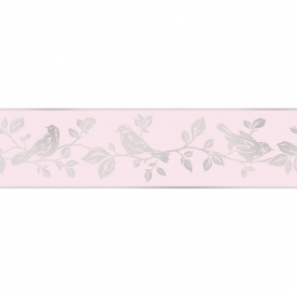 Glitz Leaf & Bird Glitter Wallpaper Border Pink / Silver (DLB50150)