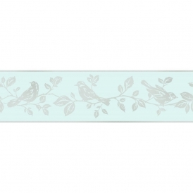Glitz Leaf & Bird Glitter Wallpaper Border Teal / Silver (DLB50145)