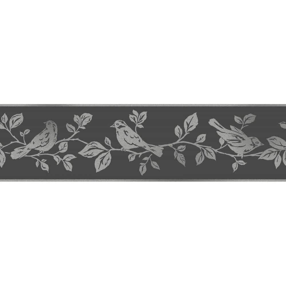 Fine Decor Glitz Leaf Birds Glitter Wallpaper Border Black