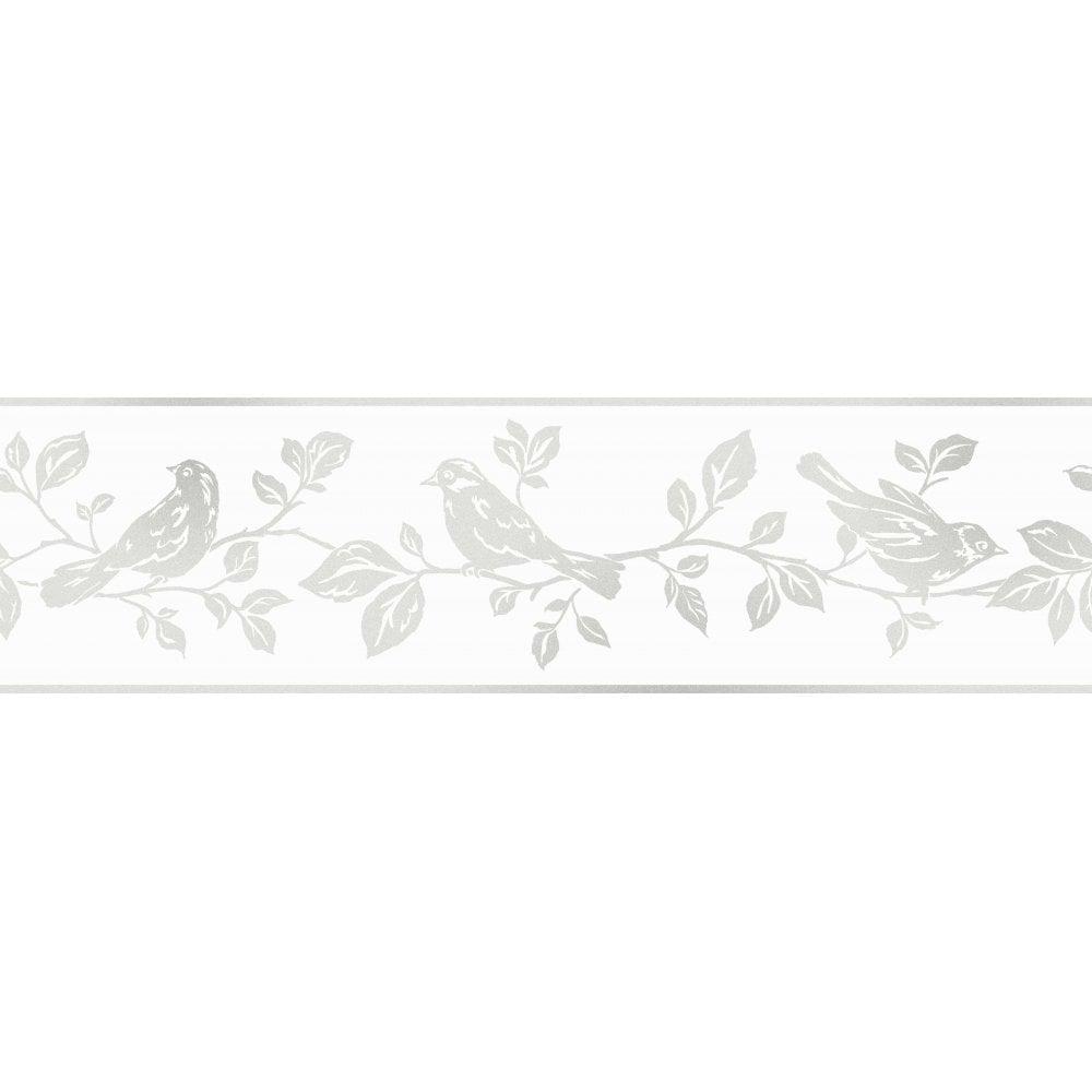Fine Decor Glitz Leaf Birds Glitter Wallpaper Border White