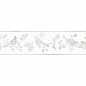 Glitz Leaf & Birds Glitter Wallpaper Border White / Silver (DLB50135)