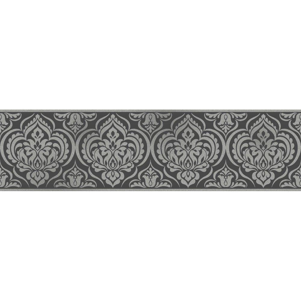 Glitz Ornamental Damask Glitter Wallpaper Border Black Silver DLB50142