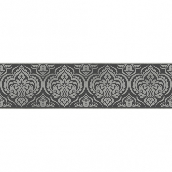 Fine Decor Glitz Ornamental Damask Glitter Wallpaper Border Black / Silver (DLB50142)