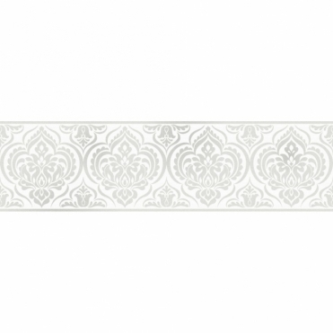 Glitz Ornamental Damask Glitter Wallpaper Border White / Silver (DLB50137)