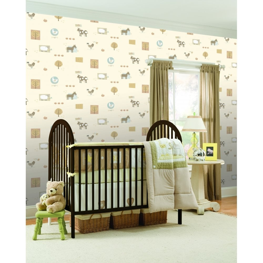 buy fine decor farm animals hoopla wallpaper neutral cream