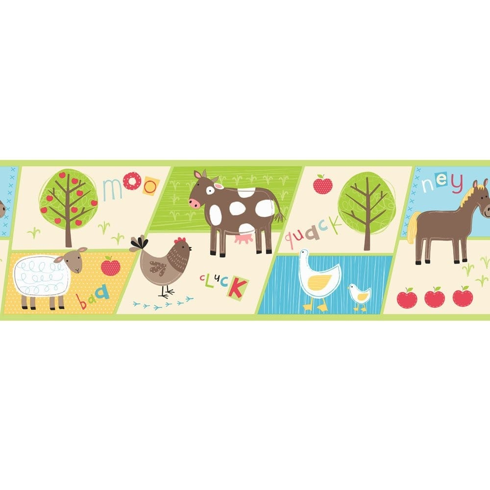 Buy Fine Decor Farm Animals Hoopla Wallpaper Border Multi