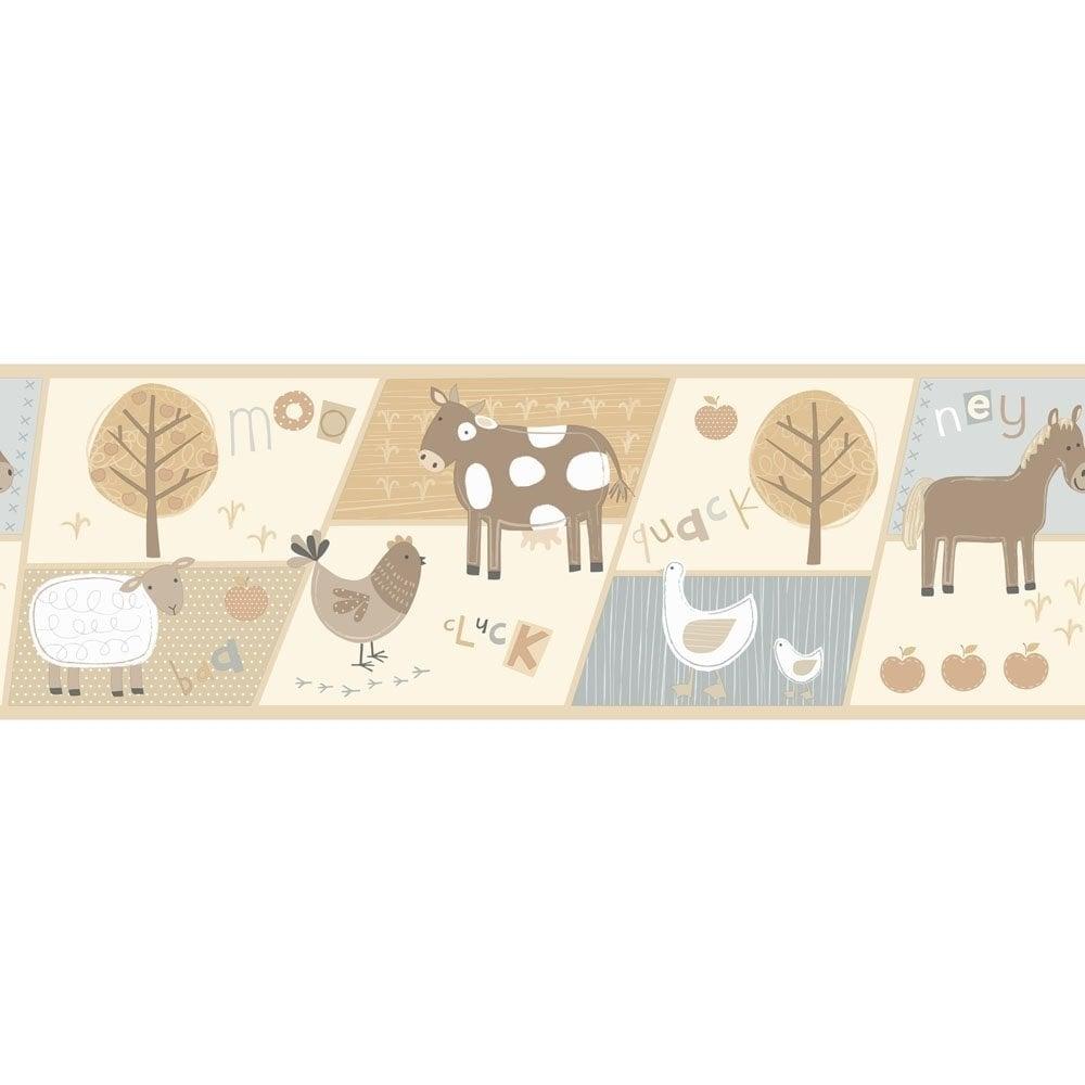 Decorative Wall Paper Trim : Buy fine decor farm animals hoopla wallpaper border