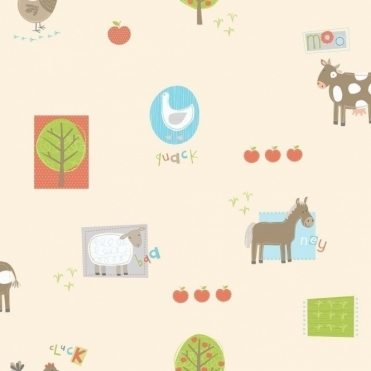 Farm Animals Hoopla Wallpaper Light Multi Coloured Cream (DL30719)