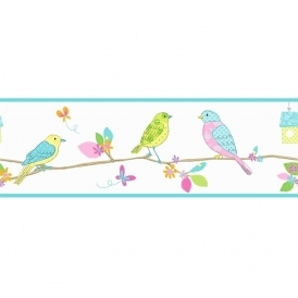 Pretty Birds Hoopla Wallpaper Border White / Blue (DLB07523)