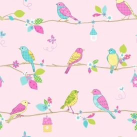 Pretty Birds Hoopla Wallpaper Pink (DL30700)