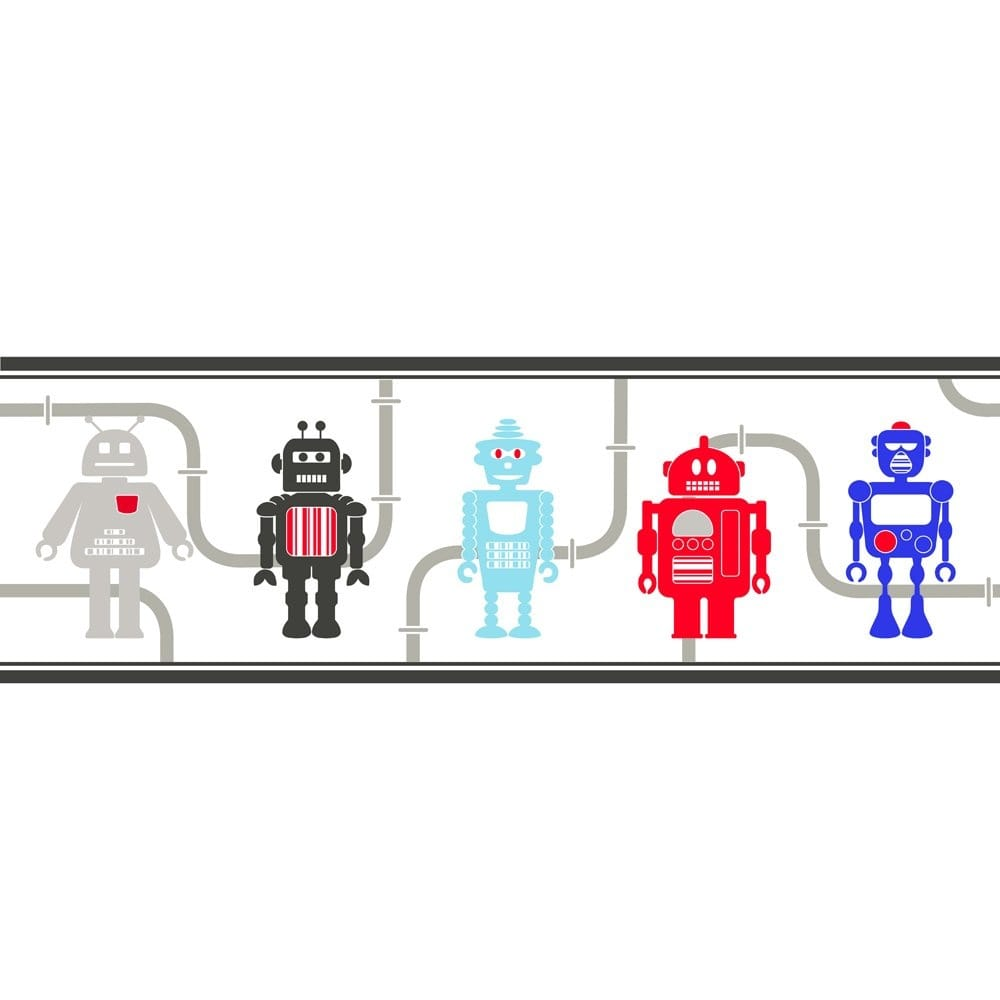 Fine Decor Hoopla Robots Wallpaper Border Red Blue