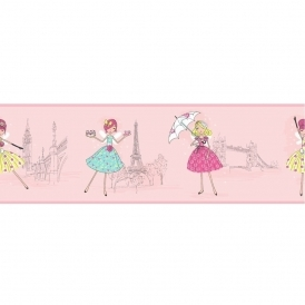 Vintage Fairies Hoopla Wallpaper Border Pink (DLB07527)