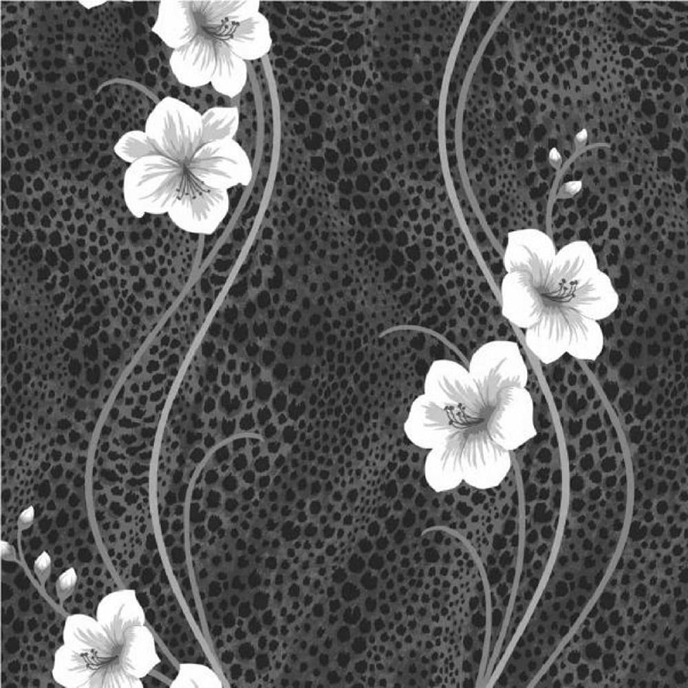 Fine Decor Kariba Floral Wallpaper Silver Black Fd31391
