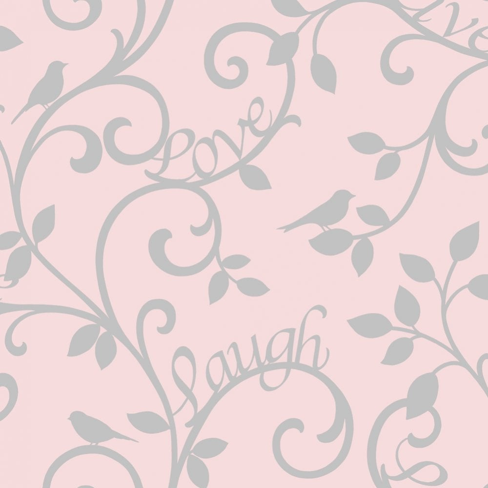 Pink Wallpaper For Bedroom Fine Decor Live Laugh Love Scroll Wallpaper Pink Silver Fd40285
