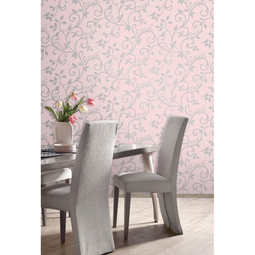Live Laugh Love Scroll Wallpaper Pink, Silver (FD40285)