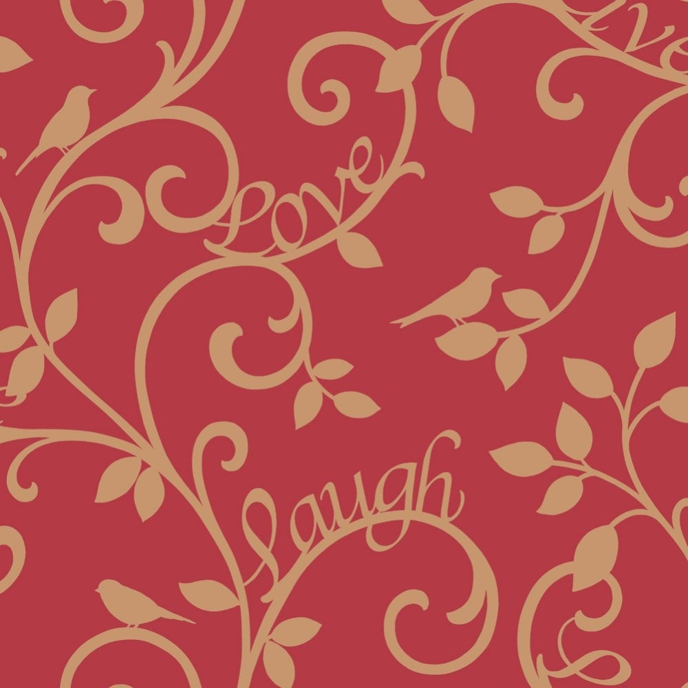 Fine Decor Live Love Laugh Scroll Wallpaper Red Gold