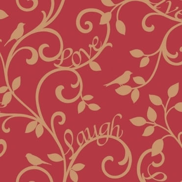 Live Love Laugh Scroll Wallpaper Red / Gold (FD40284)