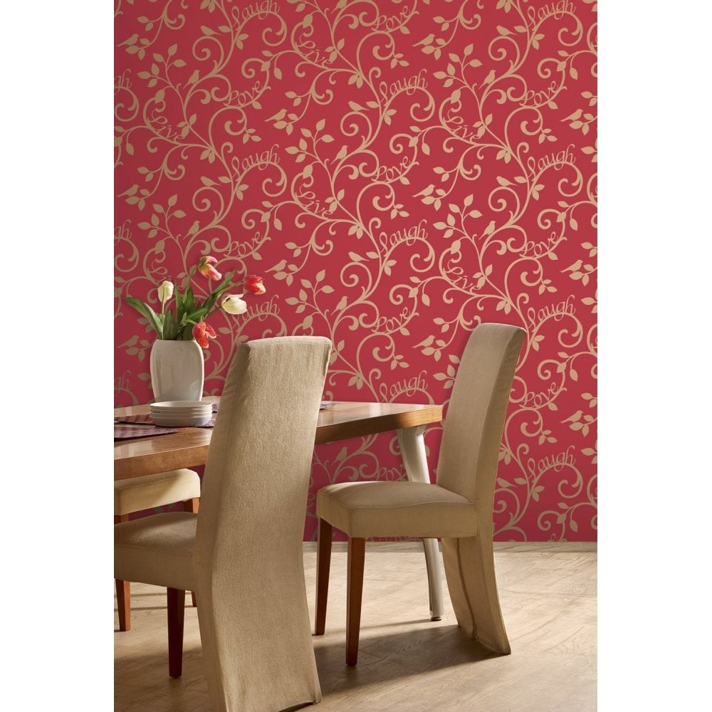Live Love Laugh Scroll Wallpaper Red Gold FD40284