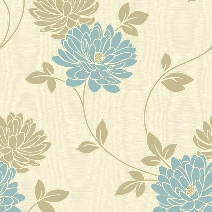 Buy Fine Decor Madison Wallpaper Cream Blue