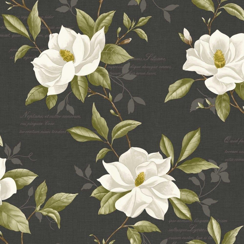 Fine Decor Magnolia Wallpaper Charcoal Cream Green