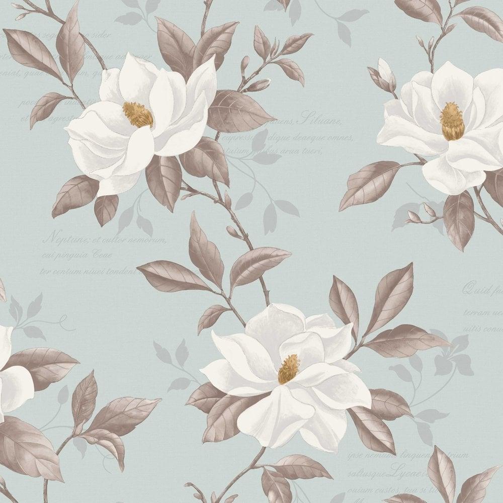 Fine Decor Magnolia Wallpaper Duck Egg Blue White Yellow - Duck egg blue bedroom wallpaper